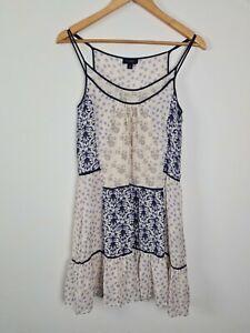 WITCHERY Patchwork Silk A-Line Slip Dress Women's Size 8 Summer Lightweight