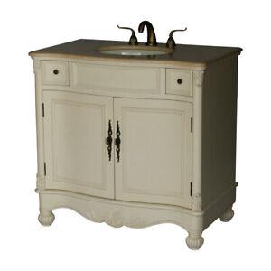 Single Sink Bathroom Vanity Model 2615, 36 Inch Antique White Bathroom Vanity