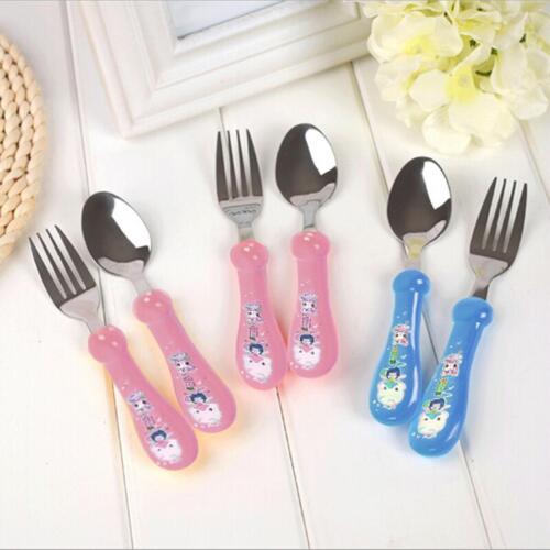 NEW Stainless Steel Kids Colorful Children Cutlery Set Fork /& Spoon Tableware CF