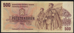 1973-500-Korun-Czechoslovakia-Rare-Vintage-Paper-Money-Banknote-Currency-Note-VF