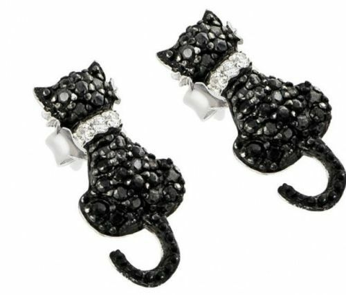 925 Argent Sterling Femme Chat Forme Clous d/'oreilles avec Black /& White Diamond