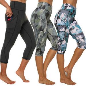 Details about  /Womens 3//4 Capri Leggings Slim Fit Yoga Cropped Shorts Gym Fitness Sports Pants