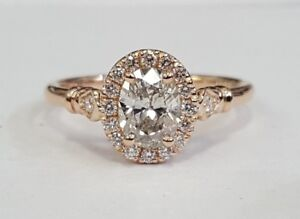 Details about Vintage Inspired Custom .98ctw Oval Diamond Halo Engagement  Ring 14K RG Sz 6.75