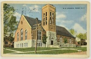 Postcard-Perry-NY-M-E-Church-View-Methodist-Episcopal-New-York-1910-039-s-1917
