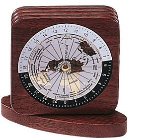 Paper Weight Square Walnut Wood World Time Zone 2 Pieces