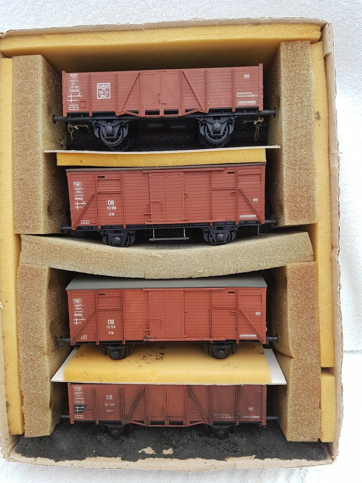 O Gauge Rake Of Four DB Kit Built Wagons In Very Good Condition