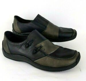 Details about Rieker Antistress Black Green Shoes Size 40 US 9 Leather Slip On Loafers Comfort