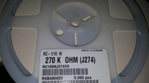 SMD-0603 FULL REEL 5000x SAMSUNG RC1608J274CS Resistor 270K OHM 5/%