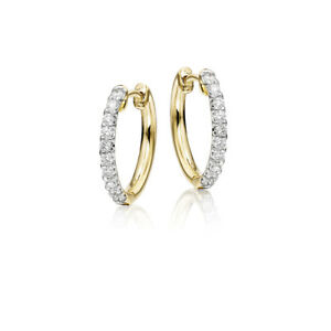 0.40 Ct Real Diamond Hoop Wedding Earring Solid 14K Yellow Gold Bridal Studs