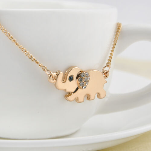 Retro Crystal Elephant Family Stroll Design Fashion Women Chain Pendant Necklace