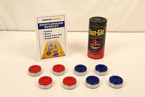 MEDIUM-TABLE-SHUFFLEBOARD-PUCKS-WAX-RULES-RED-BLUE