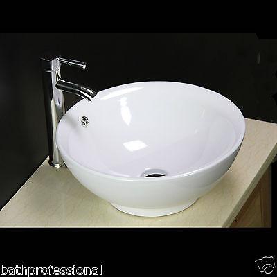 Basin Sink Bowl Countertop Bathroom Ceramic White Round Free Pop Up Waste KL