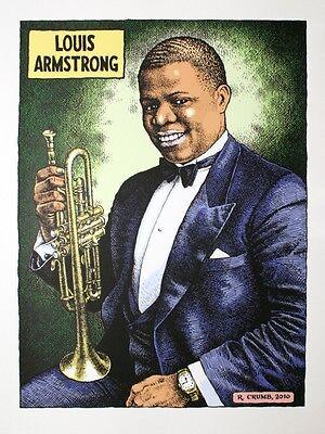 Robert Crumb Louis Armstrong JAZZ POSTER B/&W Print
