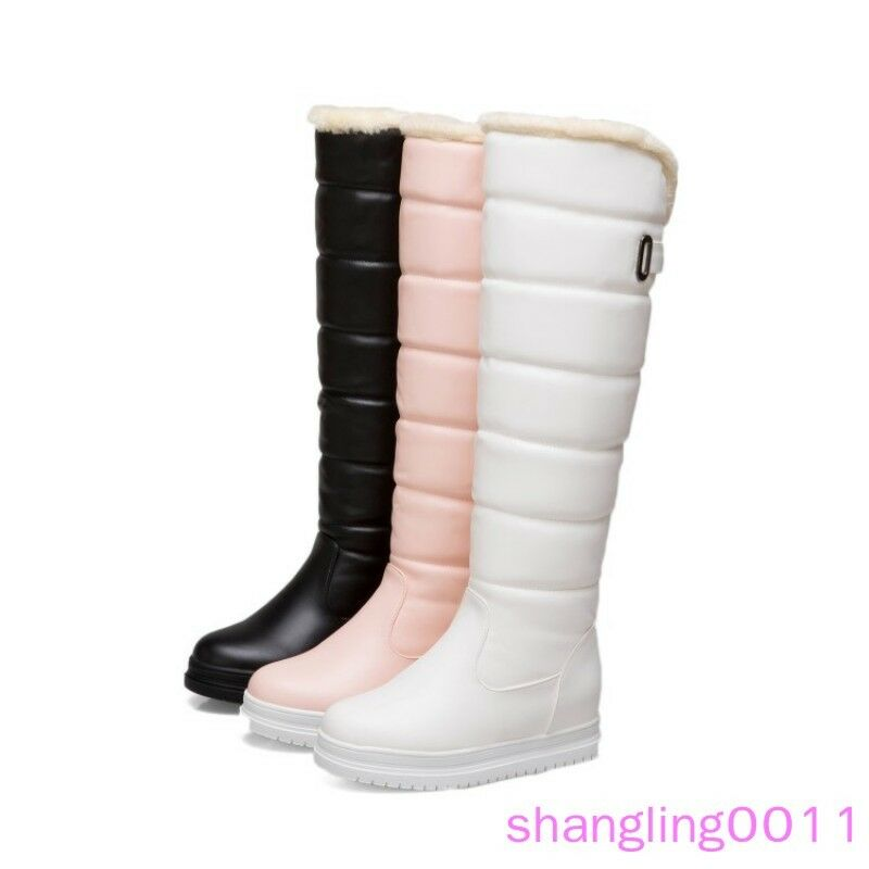 Womens Hidden Wedge heel shoes Pull on Furry Lined Winter knee high Snow boots