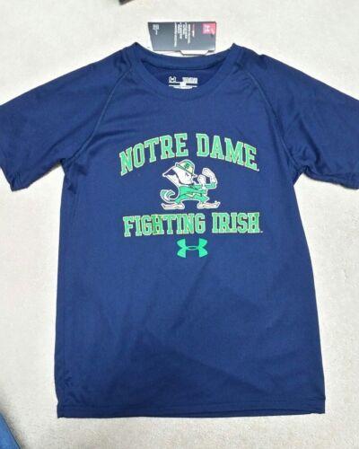 Boys Under Armour Notre Dame Short Sleeve Polyester Shirt Size Medium NWT