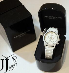 New emporio armani ceramica chronograph luigi white ceramic quartz watch ar1499 ebay for Ceramica chronograph