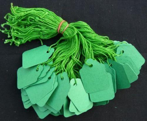 1000 x 42mm x 27mm VERDE cordati string Swing tag prezzo biglietti Tie Su Etichette