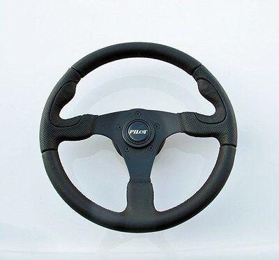 NEW Racing Black Leather Steering Wheel + Horn Three Spoke by Pilot SW-819E