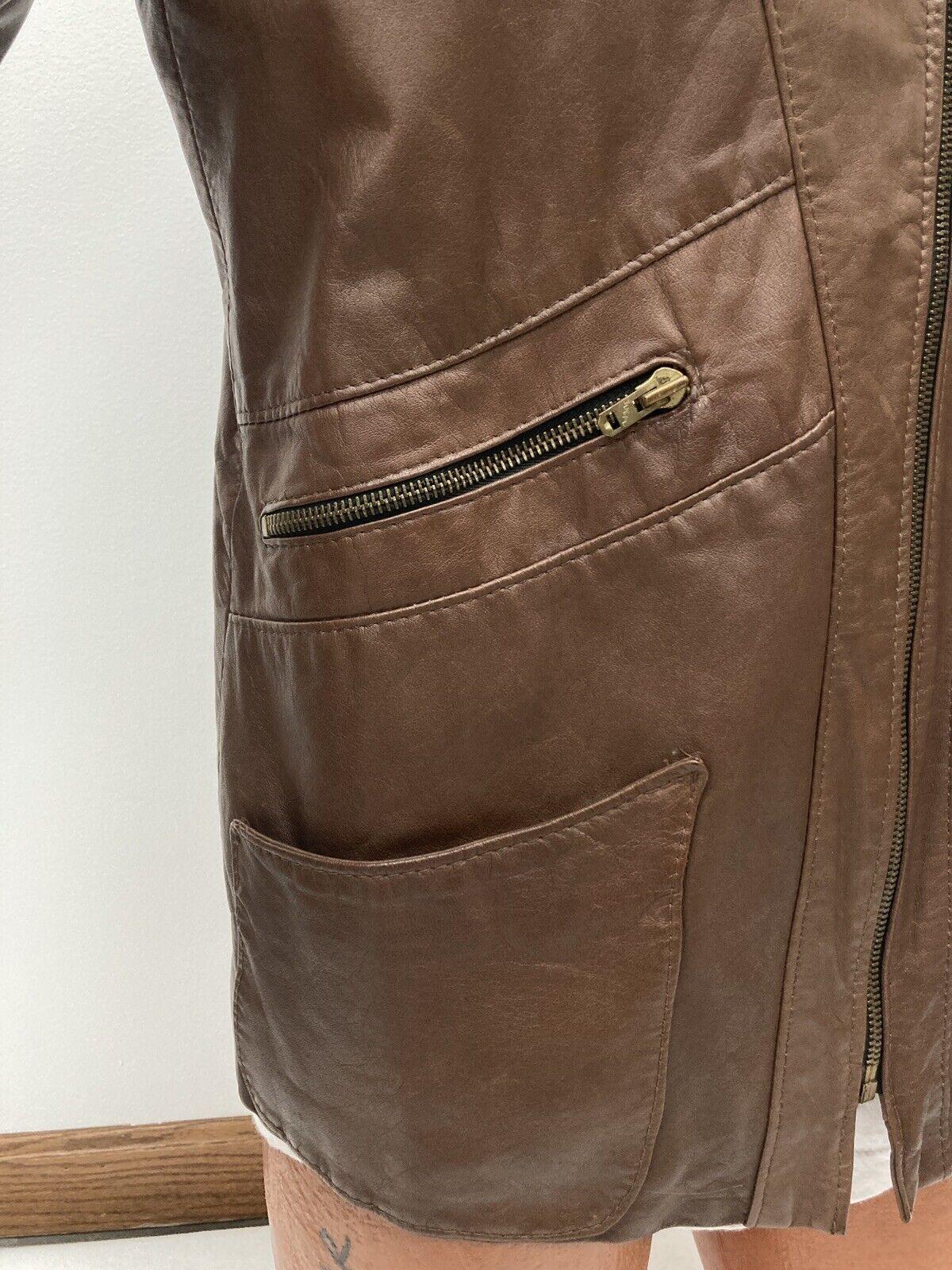 Genuine Vintage 1970s Brown Leather Blazer Jacket… - image 5