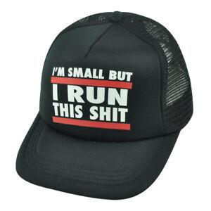 Im-Small-But-I-Run-This-Sh-t-Kids-Child-Boys-Mesh-Trucker-Snapback-Black-Hat-Cap