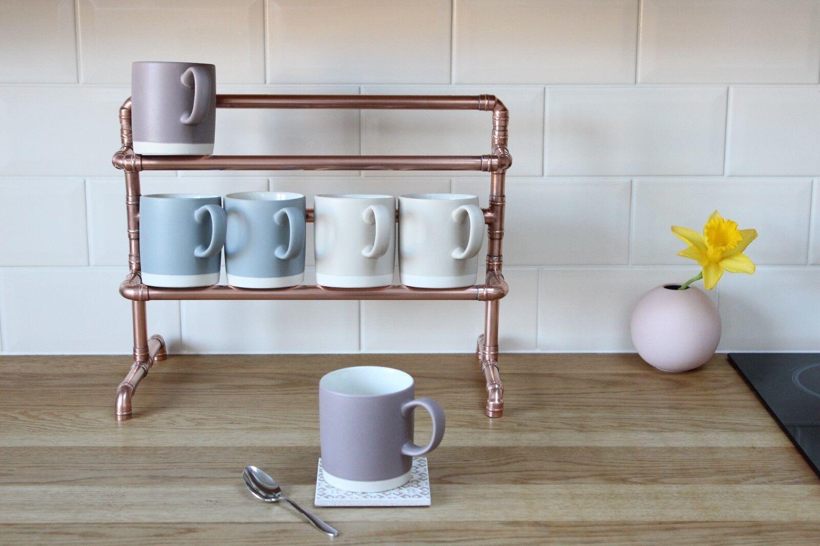 Copper Mug Holder, Tea Cup Stand, Handmade Bespoke Industrial Metal Vintage