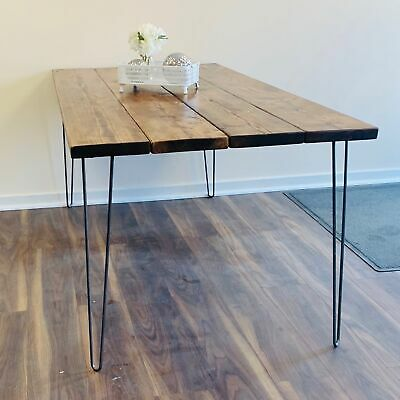 Solid Wood Handmade Rustic Hairpin Leg Desk