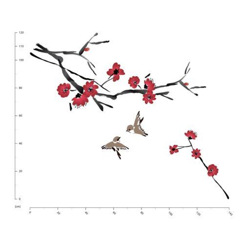 Red Flower Branch /& Birds Wall Sticker WS-41346