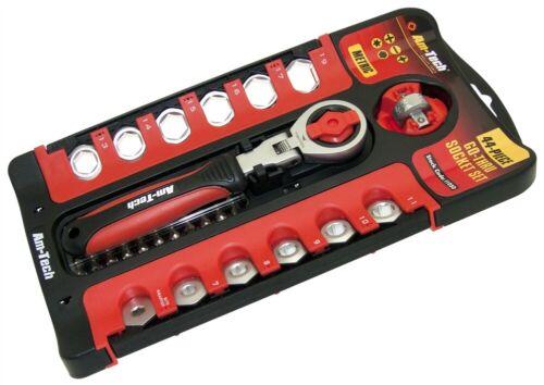 New 44Pc Go Through Socket Set Flexi Drive Wrench Mechanic Service Garage Amtech