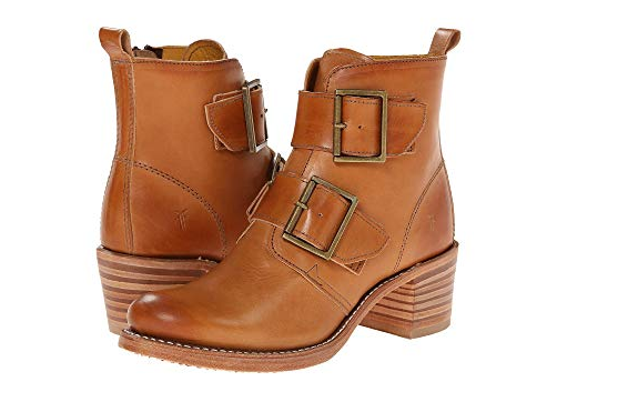 New in Box Frye Sabrina Double Buckle Boots Tan Leather 6 M US MSRP   378 77499