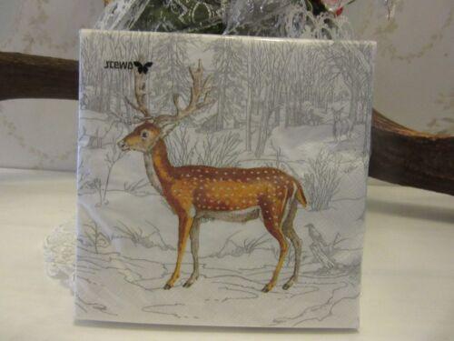 "4 Napkins /""White Winter Landscape/"" 33x33 serviettentechnick Vintage Stag"
