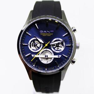 Gant-GTAD00502899I-Ridgefield-blau-grau-schwarz-Kautschuk-Armband-Uhr-Herren-NEU