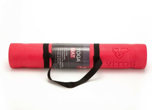 Vitos Fitness 5mm Pilates Yoga Mat With Strap Thick High Density Deluxe Non Slip