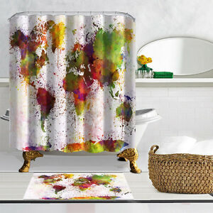 World map shower curtain bathroom decor waterproof fabric polyester image is loading world map shower curtain bathroom decor waterproof fabric gumiabroncs Images