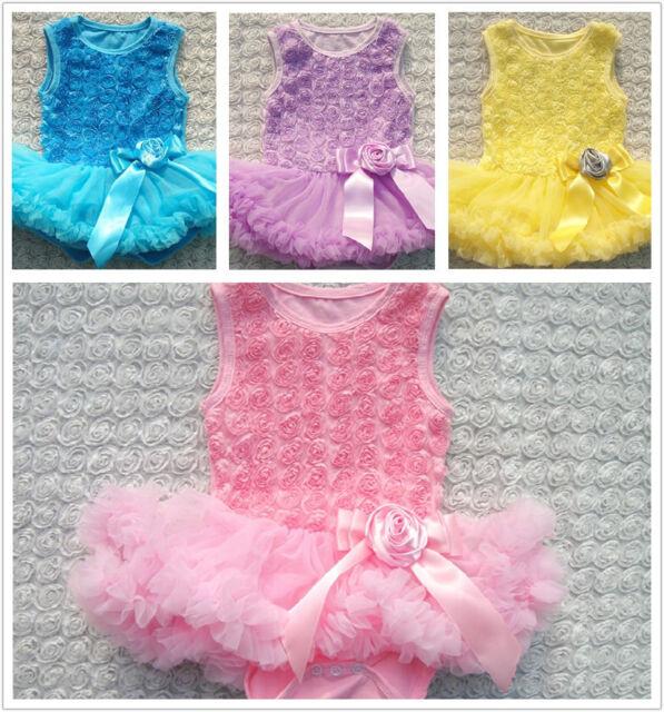 Infant Toddler Baby Girls rose flower Jumpsuit Romper Layered dress Pettiskirt
