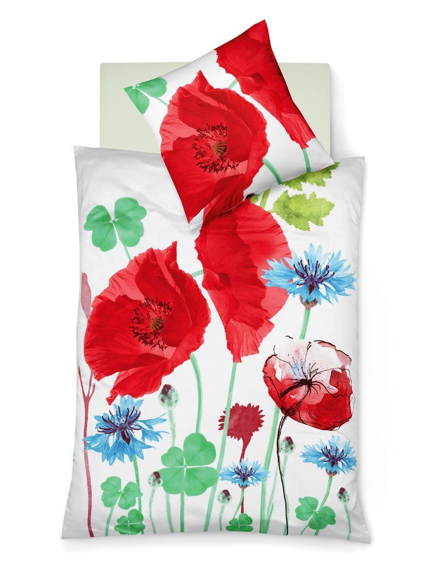 Fleuresse Mako Satin Bettwäsche 2 tlg. 135x200cm MohnBlaumen Rot Grün Weiß Blau
