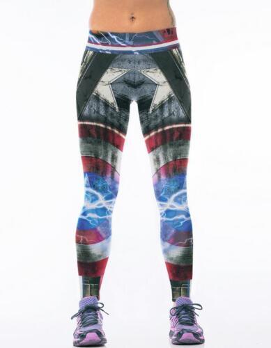 Woman wide belt Captain America  Printed cosplay legging High waist legging