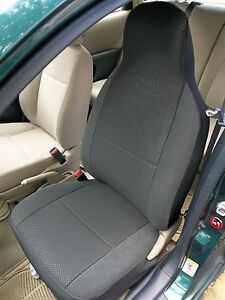 TO-FIT-A-MITSUBISHI-LANCER-CAR-SEAT-COVERS-RAVEN-ANTHRACITE-CLOTH-2-FRONTS