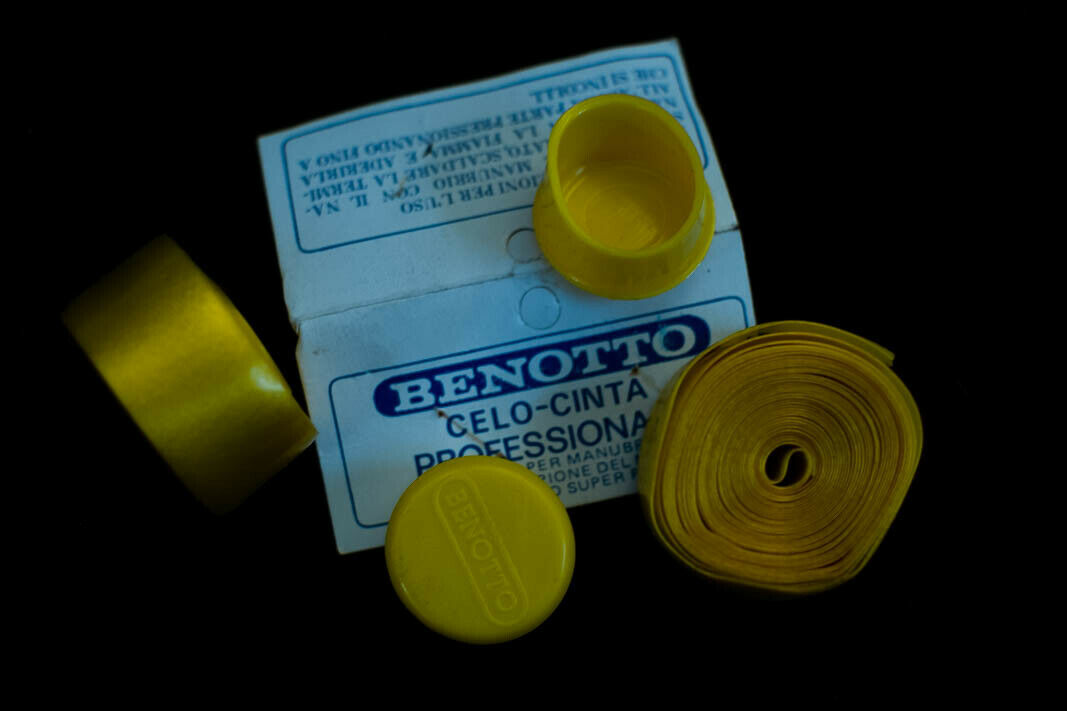 NOS Vintage Benotto Cellotape Bar Tape White Textured 2 Rolls and Caps NOS