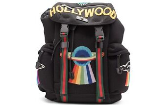 02dfc1bcb2ca Image is loading Gucci-Mesh-Embroidery-Backpack-Hollywood-UFO-Planet- Embroidery-