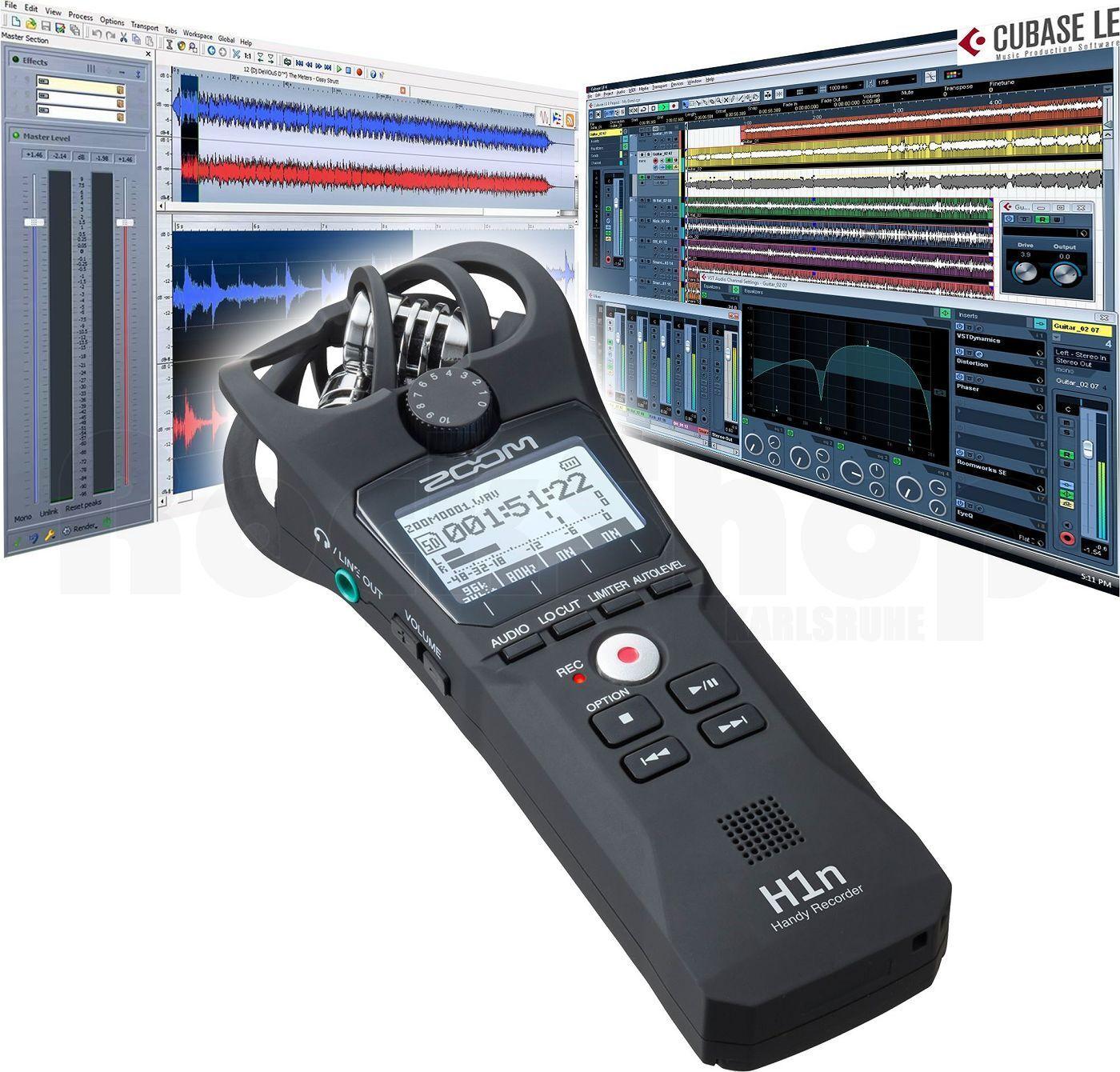 Zoom H1n Aufnahmegerät Recorder+ Steinberg WaveLab LE + Cubase LE + 2x Batterien