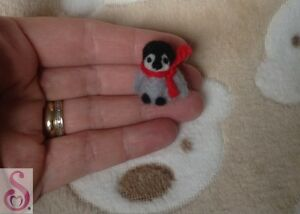 Needle-Felted-Penguin-handmade-miniature-ornament-Bird-art-Christmas-gift-OOAK