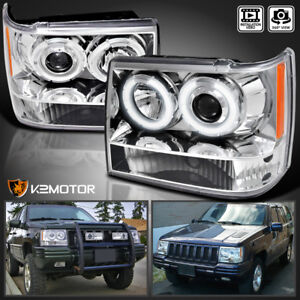 Image Is Loading 1993 1996 Jeep Grand Cherokee Halo Projector Headlights