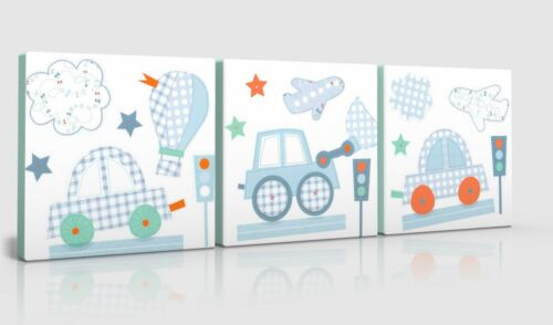 3 X DEEP EDGE CANVAS PICTURES BEEP BEEP CARS TRUCKS  FREE P/&P NEW