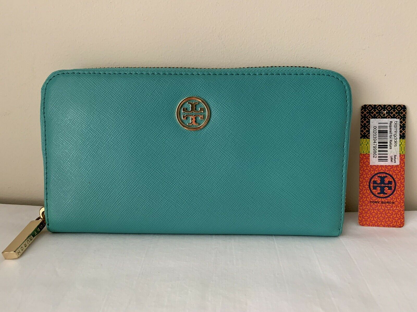 NWT Authen Saffiano Tory Burch Robinson Zip Around Wallet, Turquoise/Tory Navy!