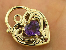 Lovely GENUINE 9K 9ct Solid Gold Natural  Amethyst Heart Filigree PADLOCK Clasp