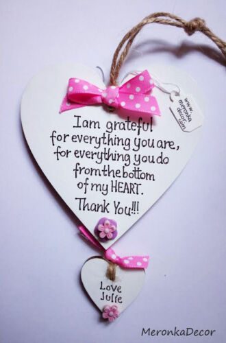 End of the year-pink Teacher gift Nursery Personalised Handmade Wooden Heart
