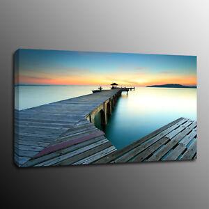 Framed Blue Ocean Seaside Summer Beach Canvas Prints Picture Wall Art Home Decor