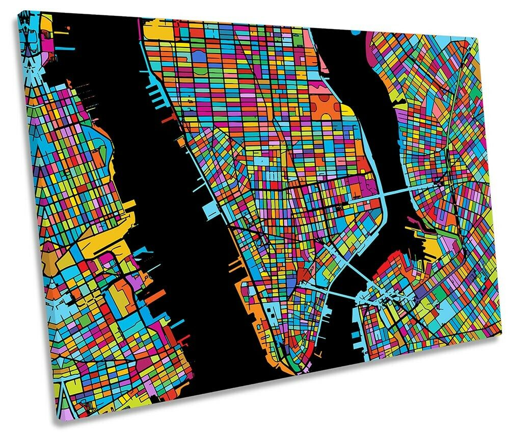 New York City Modern Map Picture SINGLE CANVAS WALL ART Print Multi-Colourot