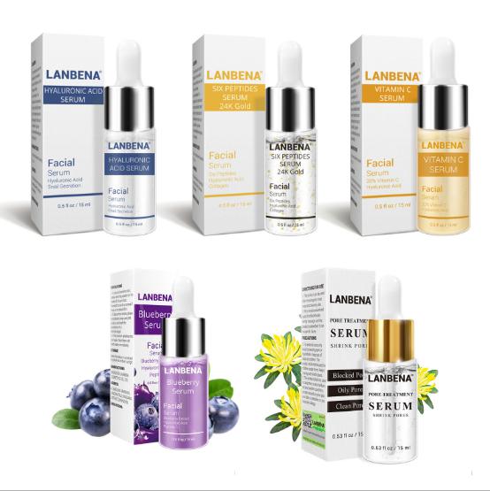5Pc/Set LANBENA Six Peptides 24K Gold Anti-Aging Vitamin E Hyaluronic Acid  Serum