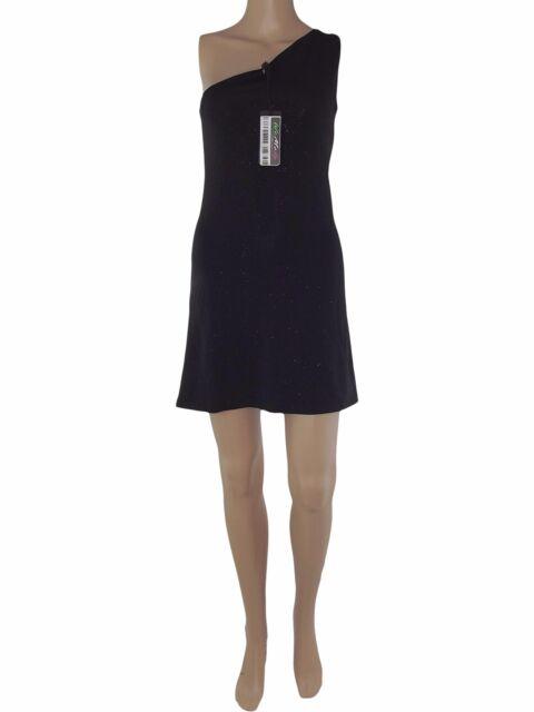 mixeri abito donna mini nero glitterato monospalla taglia m medium stretch